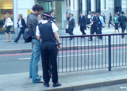 police looking at cameras